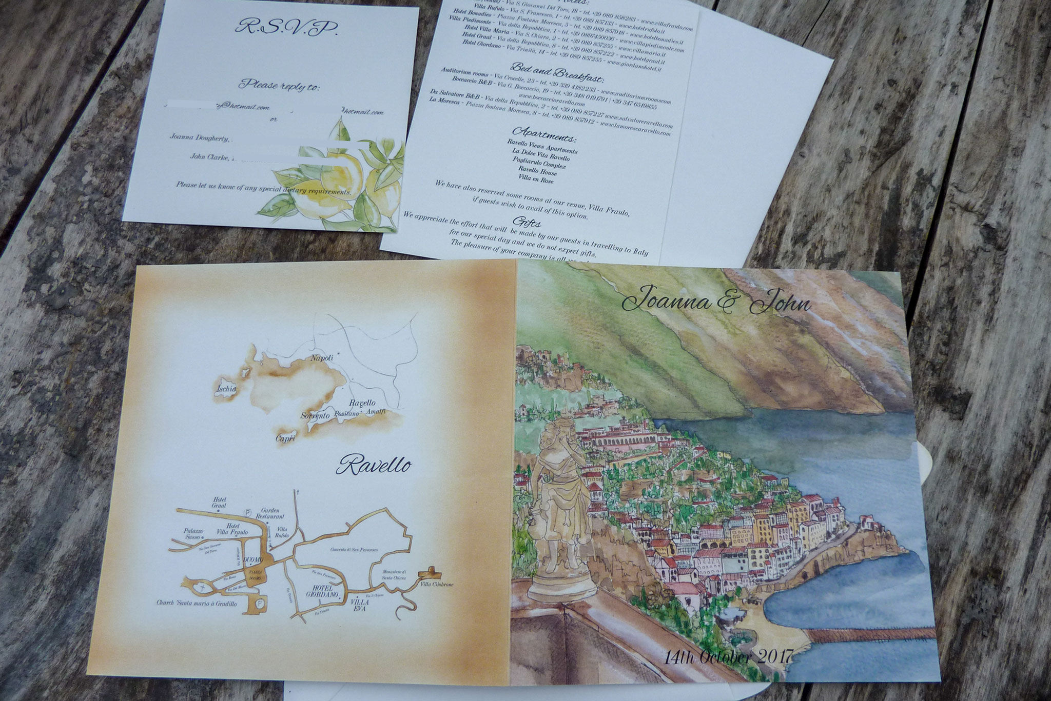 Ravello Wedding Invitation With Vintage Map Illustration On