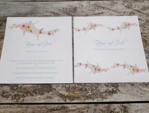 Floral border design wedding invitation
