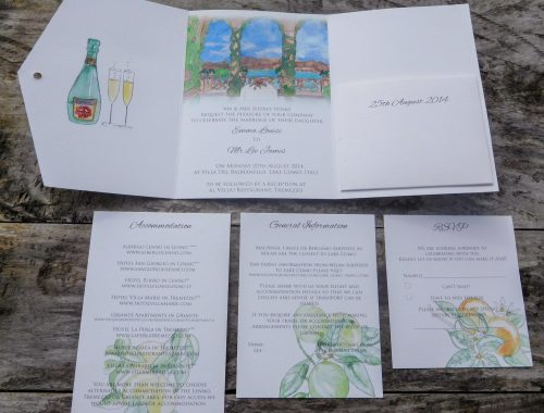 Lake Como pocketfold invitation