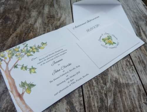Inside of Ravello wedding invitation