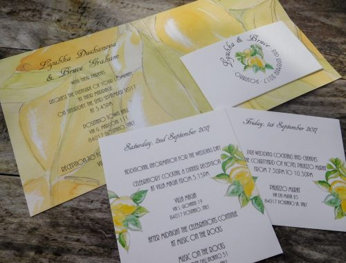 Positano wedding invite with pocket and inserts