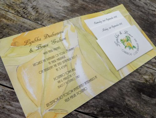 Inside of lemon theme invite with pocket and inserts