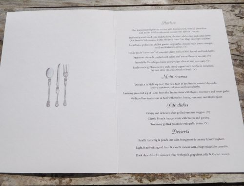Menu with cutlery illustration
