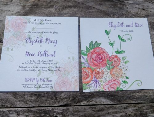Pink peony and rose flat invitation