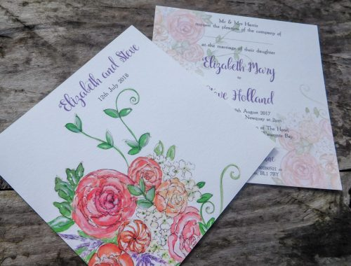 Pink peony and rose wedding invitation