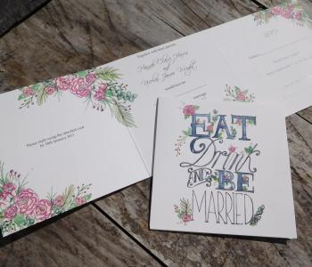 Eat drink and be married tri-fold invitation