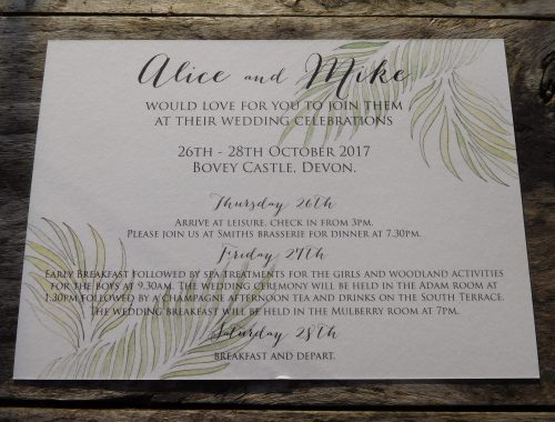 Tropical palm detail on invitation