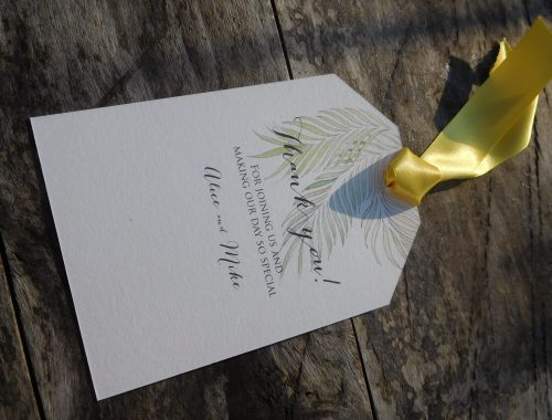 Tropical palm thank you card