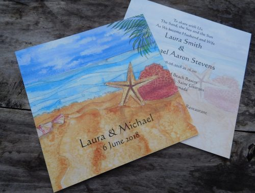 Caribbean wedding invite