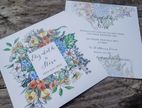 Flat invite with spring bouquet featuring Hydrangeas and roses