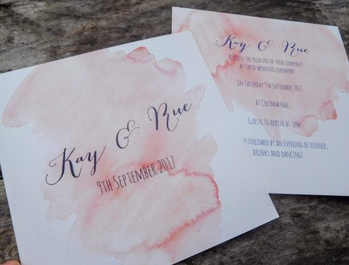 Blush pink water-colour invitation
