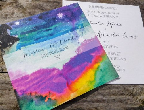flat card invite with abstract sky wash