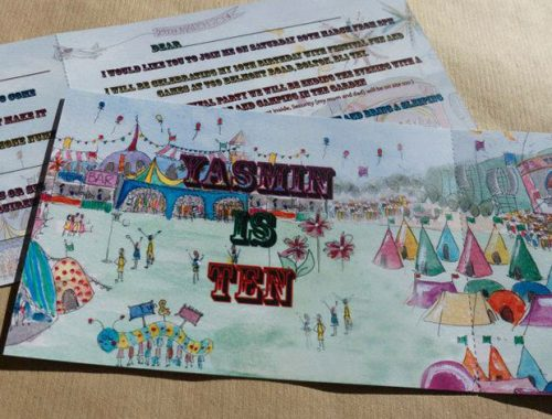 Childrens party invite festival theme