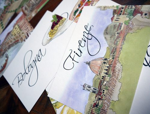 watercolour table name cards - Italy