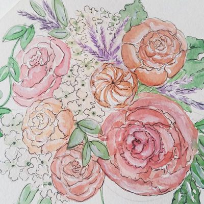 Brides bouquet illustration