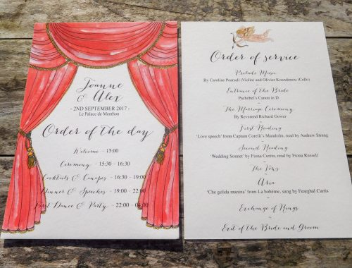 Opera theme wedding order of the day card