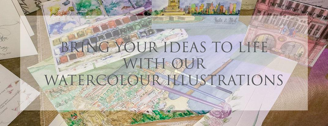 Bring your ideas to life with our watercolour illustrations.