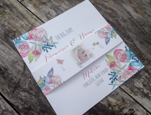 Pink rose bouquet invitation suite with belly band