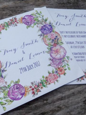 Flat Invitation with floral garland design