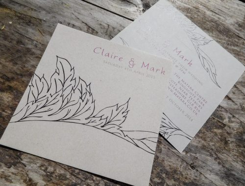 Simple line drawing Acanthus leaf wedding invite
