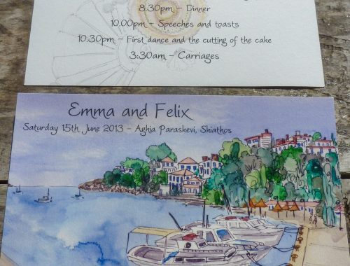 Skiathos Itinerary Card with watercolour harbour illustration