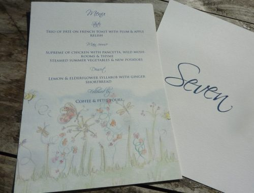 Table number card with menu