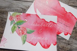 Peony and watercolour wash design
