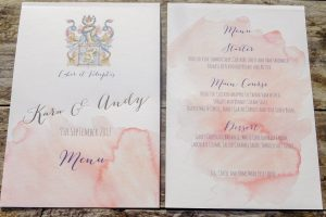 Blush Pink Watercolour menu