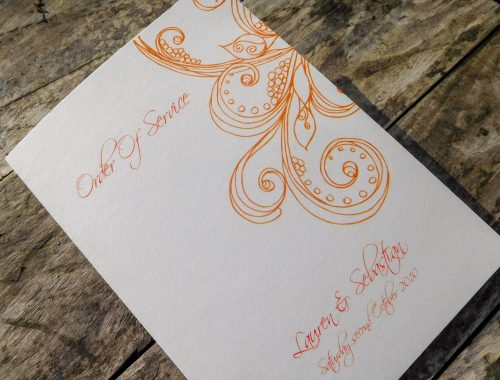 Simple order of service in orange scroll design