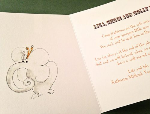 Inside of personalised baby card